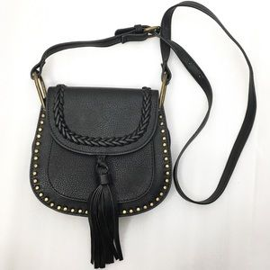 Vegan Leather Studded Tassel Saddle Bag